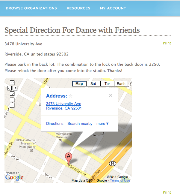 View of the Location Details webpage: