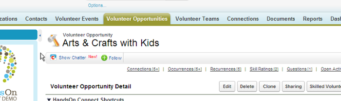 Navigate to the Volunteer Opportunities Tab.