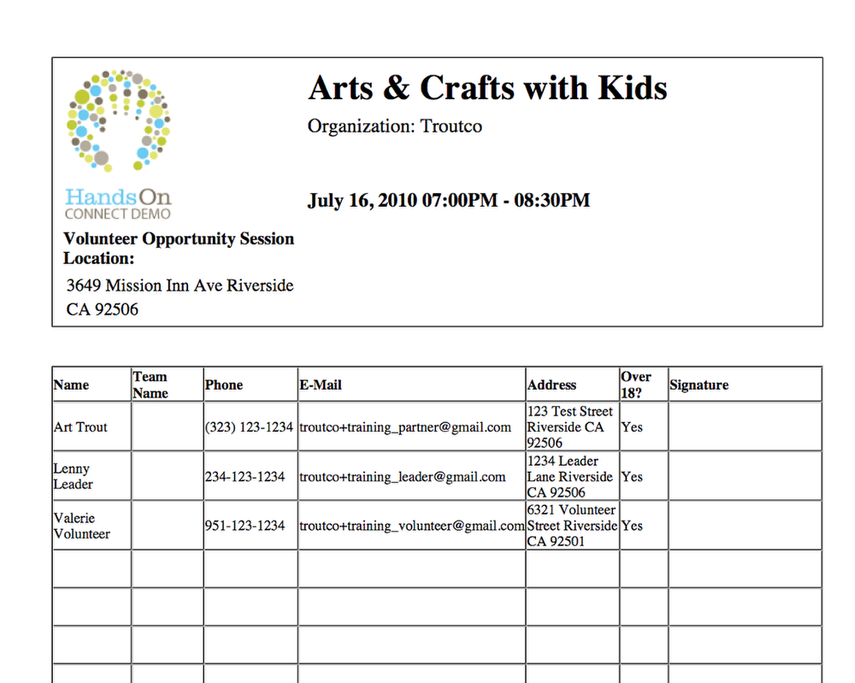 Check-In Sheet: