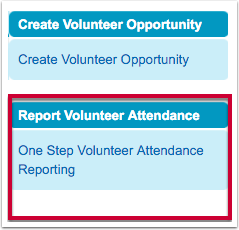 How to access One Step Volunteer Attendance Reporting