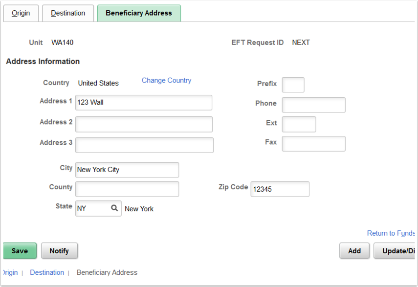 Beneficiary Address page