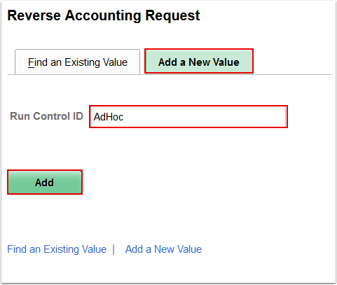 Reverse Accounting Request Add a New Value page