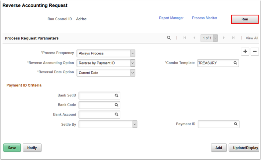 Reverse Accounting Request page