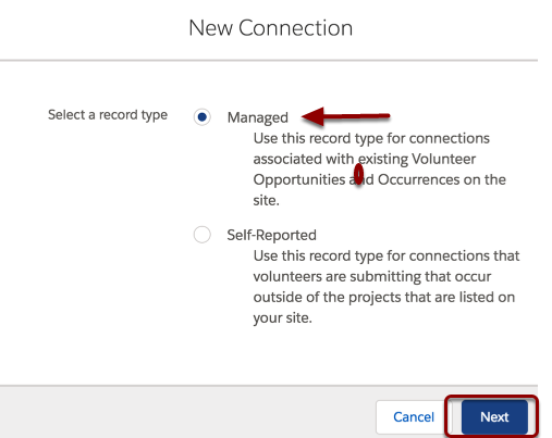 """You'll be asked what type of connection to create.  Choose """"Managed"""" and click continue."""