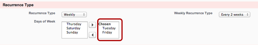 When picking days of the week, be sure to move the days from the 'available' column to the 'chosen' column to select them!