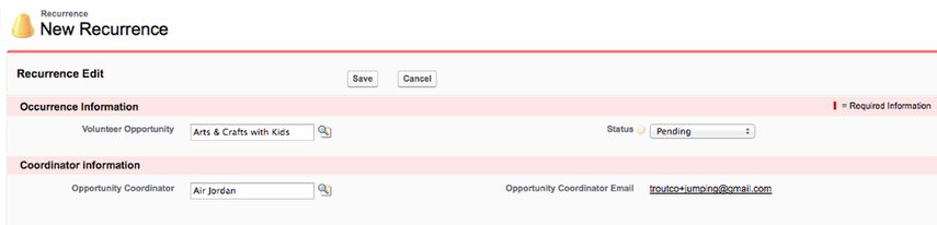 The Opportunity Name should auto-populate, since you created this from the Opportunity page