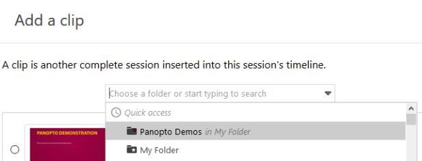 Choose a Panopto folder