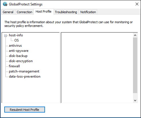 GlobalProtect settings window