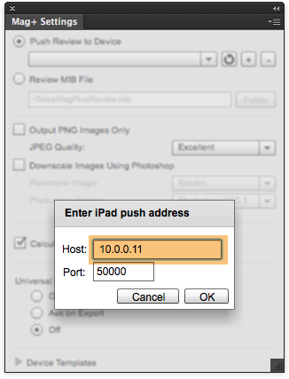 In the window that appears, enter the IP address from your Android device.