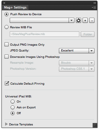 In InDesign, show the Mag+ Settings panel.