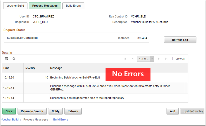 Process Messages page