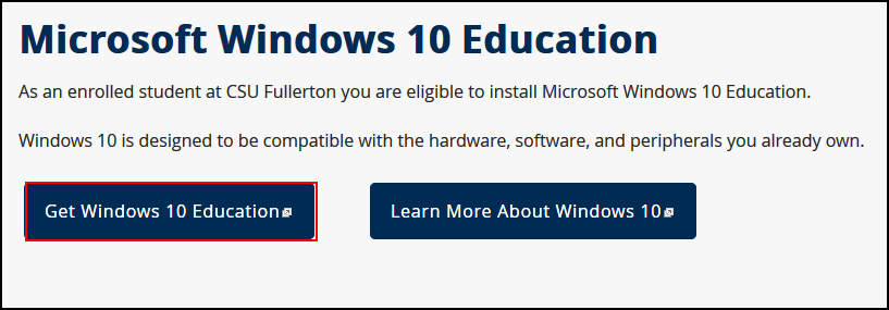 CSUF Microsoft Windows 10 Education webpage