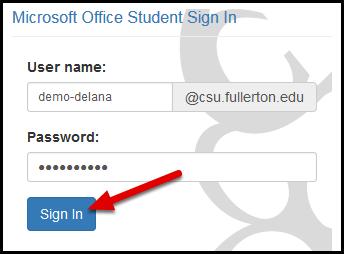 CSUF Microsoft login screen