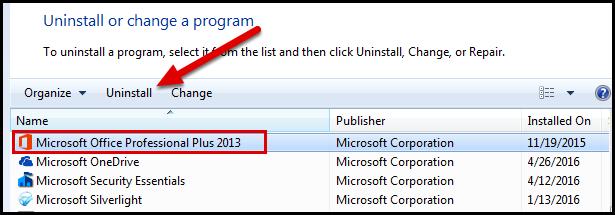 Uninstall program screen