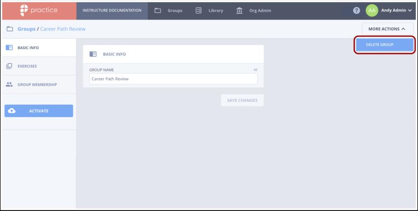 Click Delete Group option