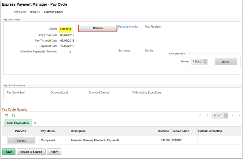 Express Payment Manager Pay Cycle page