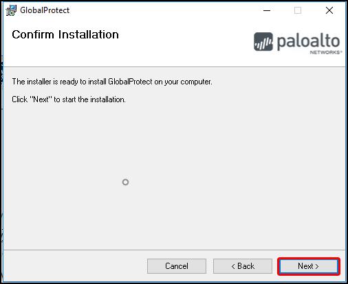 GlobalProtect Setup Wizard, GlobalProtect installation confirmation