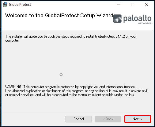 GlobalProtect Setup Wizard, Welcome page