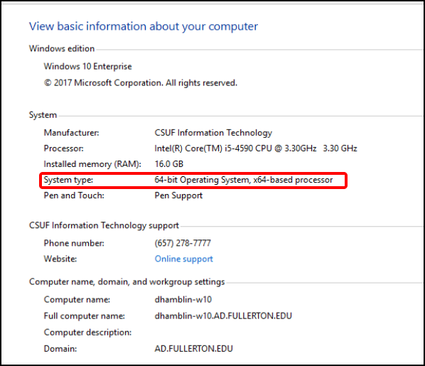 Windows 10 computer system type