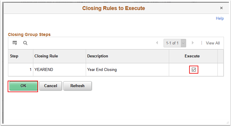 Closing Rules to Execute page