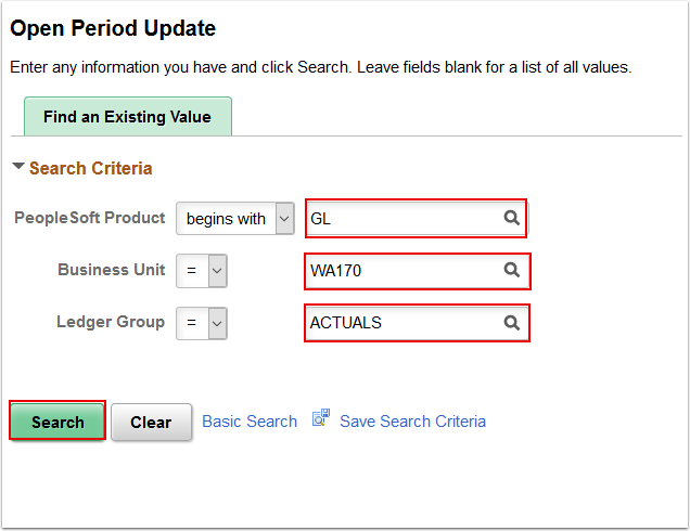 Open Period Update search page