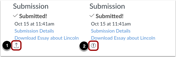 View Uploading and Failed Submission Icons
