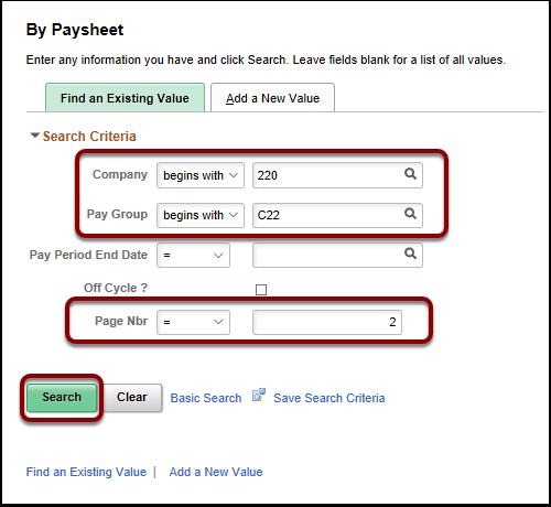 Search Criteria section
