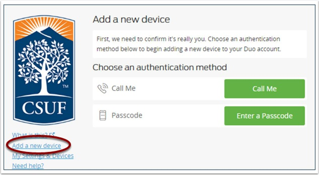 Add a new device prompt