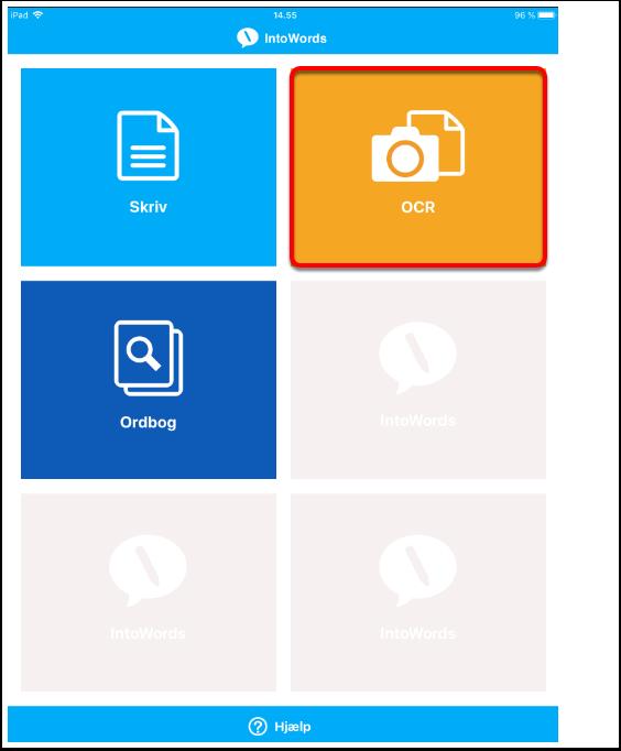 Åbn App'en og start processen med OCR-behandling (optical character recognition)