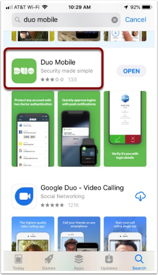 Duo Mobile app in the apple app store