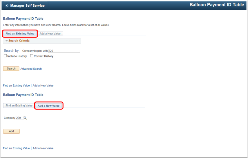 Balloon Payment ID Table Landing Page