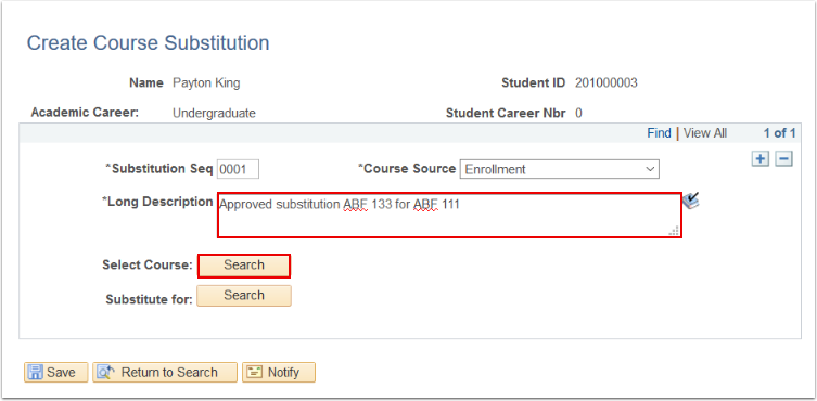 Create Course Substitution