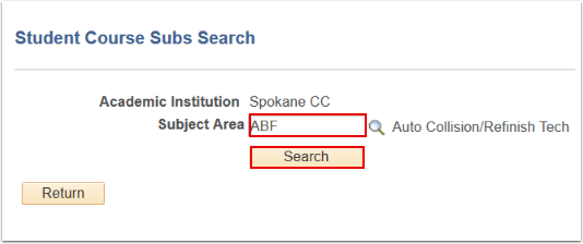 Student Course Subs Search
