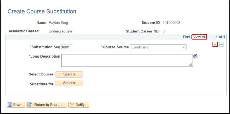 Create Course Sustitution