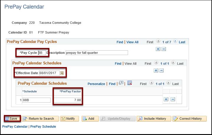 PrePay Schedule tab