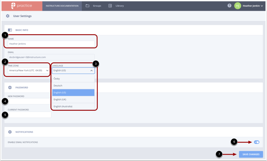 Edit all account setting fields