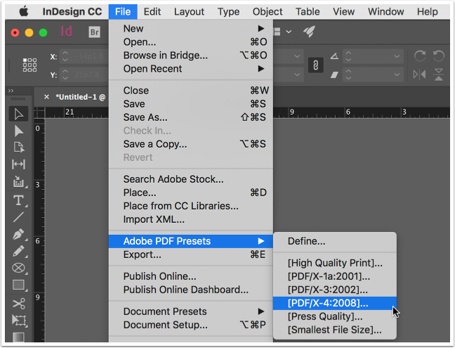 Screenshot: Adobe PDF Preset