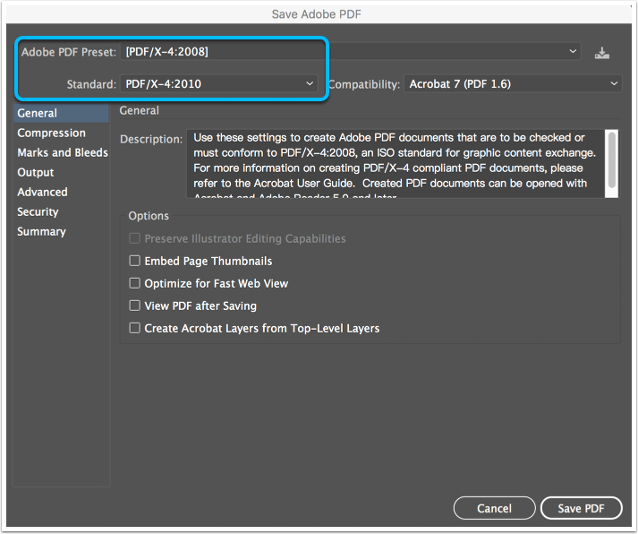 Screenshot: PDF Dialogue Box
