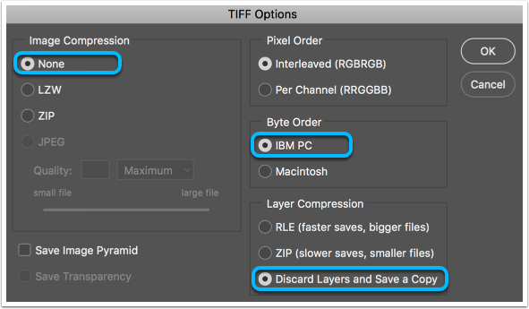 Screenshot: TIFF Dialogue Box