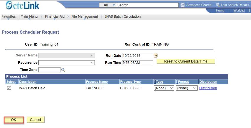 process scheduler page ok button