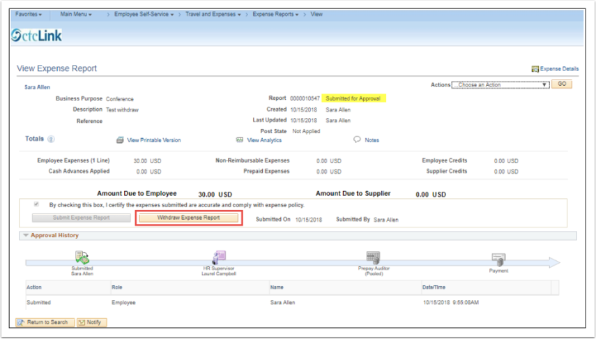 View Expense Report page