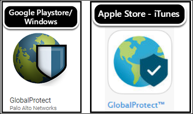 Google Playstore and Apple iTunes GlobalProtect logos