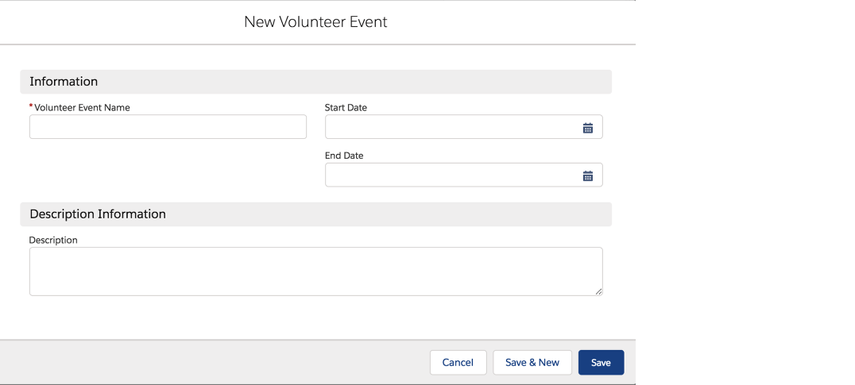 Creating a Volunteer event