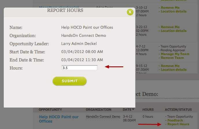 The volunteer clicks on the Report Hours link, and self-reports that they were there:
