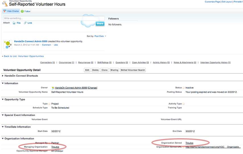 """A Volunteer Opportunity Record called """"Self-Reported Volunteer Hours"""" is automatically created for each Organization in your database"""