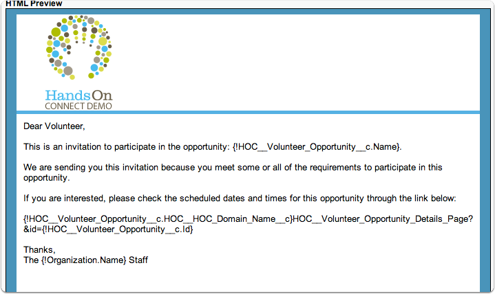 Email Sent to Volunteers who are invited