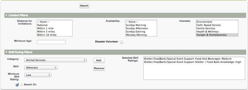This will open a new window for creating the search parameters