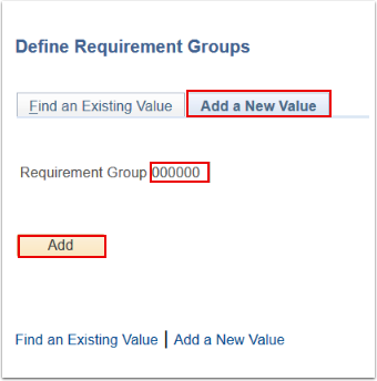 Define Requirement Groups search page Add a New Value tab