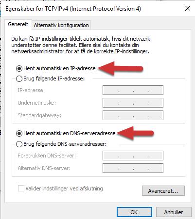 Egenskaber for TCP/IPv4 (Internet Protocol Version 4)