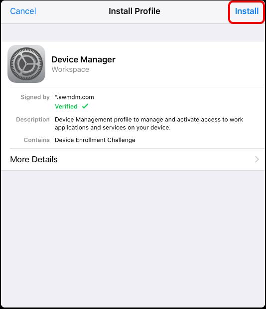 Install the MDM Profile